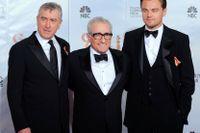 Robert De Niro, Martin Scorsese och Leonardo DiCaprio. Arkivbild.