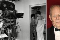 """Stig Björkman, aktuell med """"Uppenbarelseboken"""". Till vänster Jean-Luc Godard med Brigitte Bardot och Michel Piccoli under inspelningen av """"Föraktet"""" (1963)."""