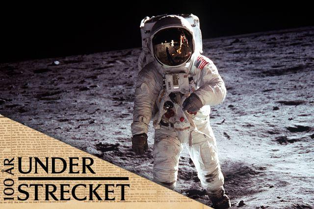 Buzz Aldrin på månens yta, 20 juli 1969.