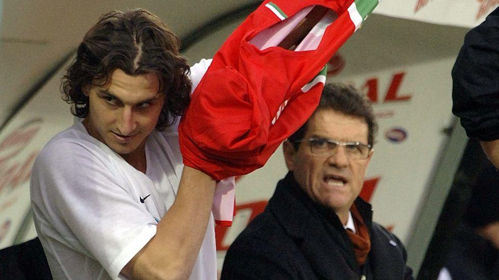 Zlatan Ibrahimovic, vänster, och Fabio Capello under en Juventus-match i januari 2006. Arkivbild.