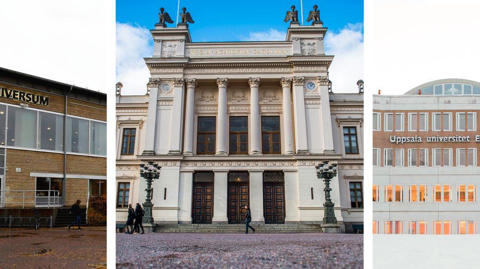 Universitetsbyggnader i Umeå, Lund respektive Uppsala.