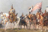 """Prins Árpád korsar Karpaterna 896, detalj från panoramamålningen """"Magyarernas ankomt"""" från 1892."""