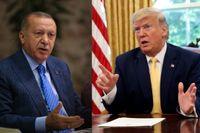 Turkiets president Erdogan och USA:s president Trump. Arkivbilder.