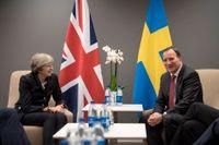 Statsminister Stefan Löfven (S) vid ett möte med Storbritanniens premiärminister Theresa May på Hotel Gothia Tower på torsdagen.