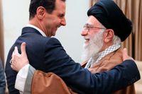 Syriens president Bashar al-Assad kramar om Irans högste ledare Ali Khamenei.