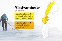 SMHI har utfärdat klass 1-varningar för mycket hård vind i fjällområdena.