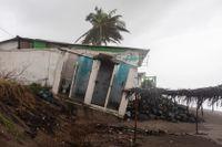 Ett skadat hus i Tecolutla i delstaten Veracruz.