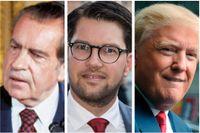 Retoriska släktingar: Richard Nixon, Jimmie Åkesson och Donald Trump.