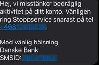 Ett sms som skickats i samband med försök till telefonbedrägerier.