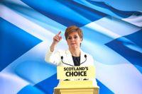 Skottlands regionala regeringschef Nicola Sturgeon under ett tal i Edinburgh den 31 januari.