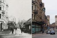 Då: Lutternsgatan västerut från Stureplan år 1895. Backen och de flesta av husen på den slitna gatan skulle snart försvinna. Nu: Kungsgatan i dag. Huset närmast till vänster är alltså kvar. Lägg märke till balkongen på båda bilderna.
