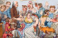 """The cow-pock, or: The wonderful effects of the new inoculation!"", vaccinationskritisk karikatyr av James Gillray från 1802."