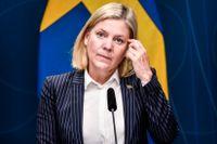 Finansminister Magdalena Andersson (S) presenterar budgetnyheter.