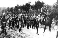 Fotografi från den 31 juli 1914. De första tyska trupperna gick över franska gränsen i augusti.