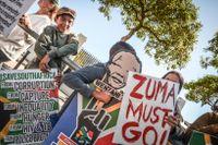 Protester i Sydafrika mot president Jacob Zuma, ANC.