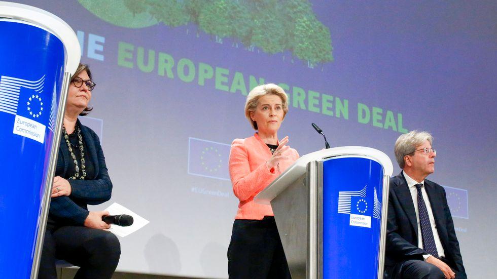 EU-kommissionens ordförande Ursula von der Leyen vid presentationen av klimatpaketet den 14 juli.