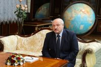 Belarus president Aleksandr Lukasjenko under ett samtal med Rysslands utrikesminister Sergej Lavrov i Minsk i torsdags.