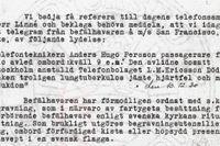 Brev från rederiet AB Nordstjernan till Ericsson i Stockholm om att Anders Ugo Persson avlidit ombord i sviterna av tuberkulos.