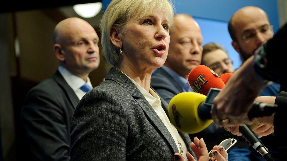 Margot Wallström under pressträff på Rosenbad.