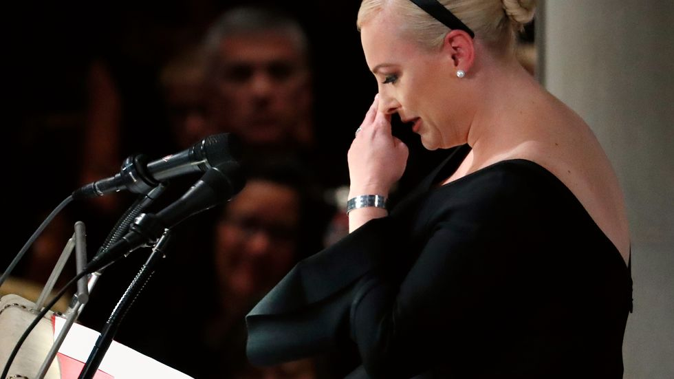 Meghan McCain speaks at a memorial service for her father, Sen. John McCain, R-Ariz., at Washington Nationals Cathedral in Washington, Saturday, Sept. 1, 2018. McCain died Aug. 25, from brain cancer at age 81