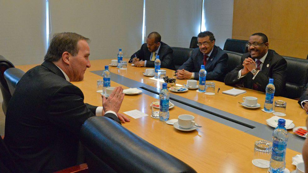 Statsminister Stefan Löfven (S) besökte Addis Abeba i januari 2015. Här i samtal med Etiopiens premiärminister Hailemariam Desalegn (till höger).