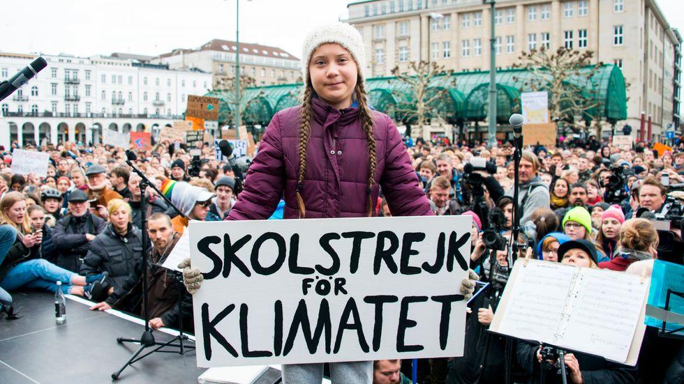 Greta Thunberg under fredagens demonstration i Hamburg.