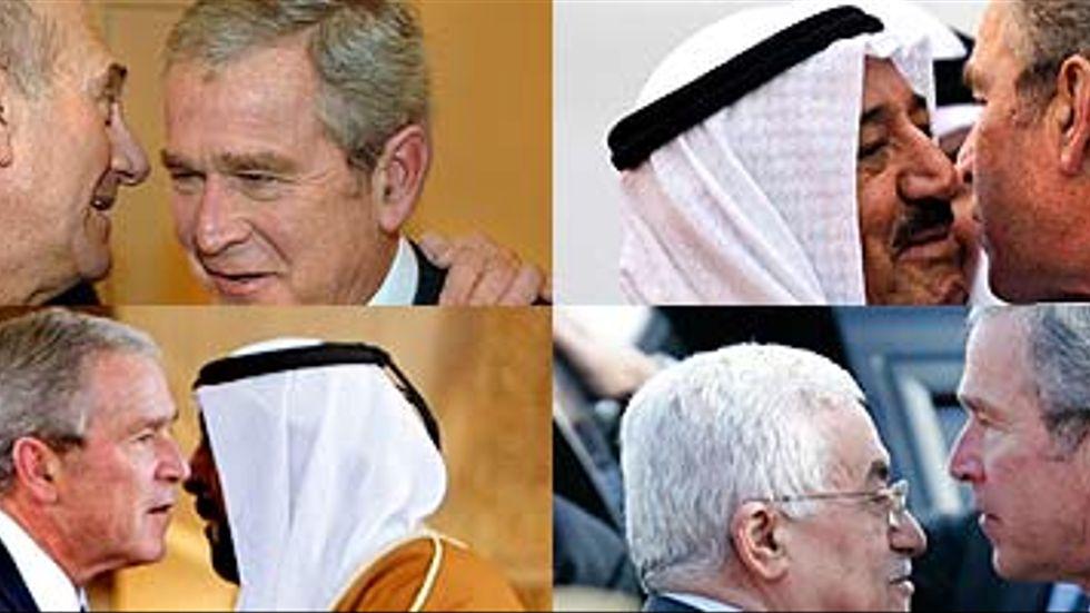 Bush med från vänster uppifrån; premiärminister Ehud Olmert, emiren av Kuwait, Sabah al-Ahmed al-Sabah, Förenade Arabemiratens ledare shejk Khalifa bin Zayed Al Nahyan och palestiniernas president Mahmoud Abbas.