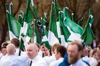 Nordiska motståndsrörelsens demonstration i Borlänge den 1 maj 2016.
