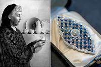 Louise Adelborg var en av Rörstrands mest tongivande formgivare. Art déco-brosch i platina med gammalslipade diamanter och blå safirer till höger. Den höga kvaliteten, det geometriska formspråket och de ädla stenarnas kontrasterande färger är typiskt för Swedish Grace.