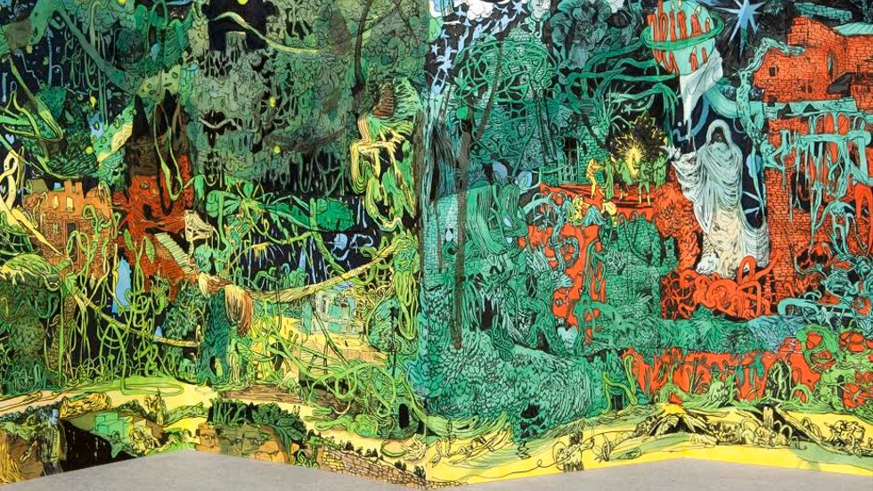 Peter Köhler, Something wicked this way comes, bläck på papper, 270x20cm, 2013.