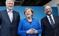 Horst Seehofer, Angela Merkel och Martin Schulz efter uppgörelsen.