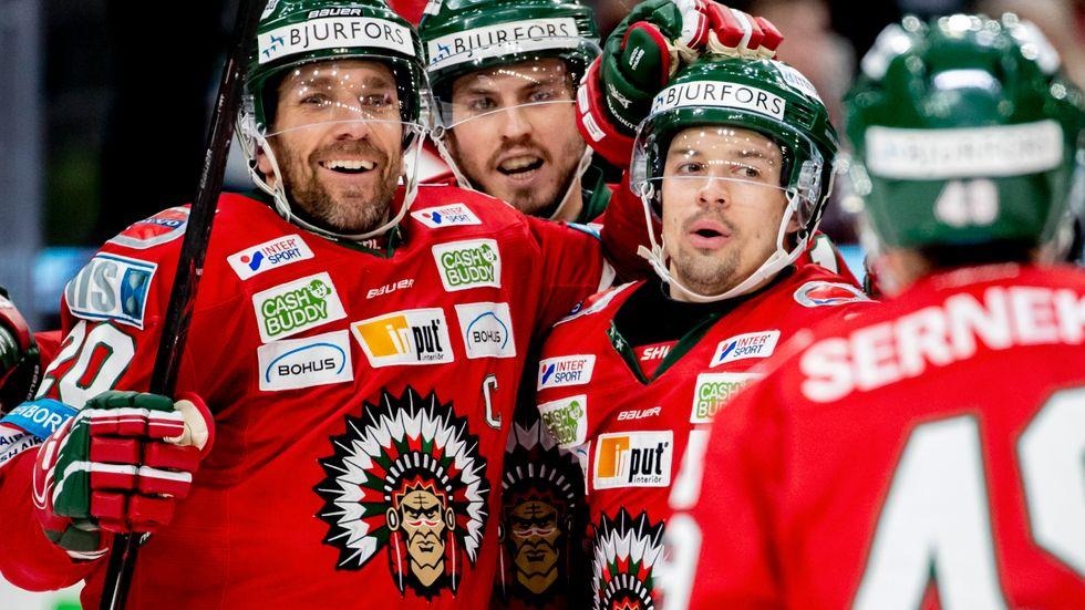 Frölundajubel efter Patrik Carlssons 3–0-mål.
