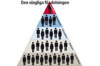 """Så här ser strukturen för den olagliga fildelningen ut: en pyramid av """"Bandidosmodell"""" där man kvalificerar sig till en högre nivå genom att utföra olagligheter. Längst ned uppskattningsvis 500000 aktörer som laddar ned för eget och andras bruk, därovanför 200000 användare som laddar upp, därefter 5000 på den nationella nivån som lägger ut materialet, där ovanför 1000 grupper som distribuerar filerna för hämtning och i toppen 10 aktörer som organiserar tillhandahållandet via sina nätverk. Källa Antipiratbyrån"""