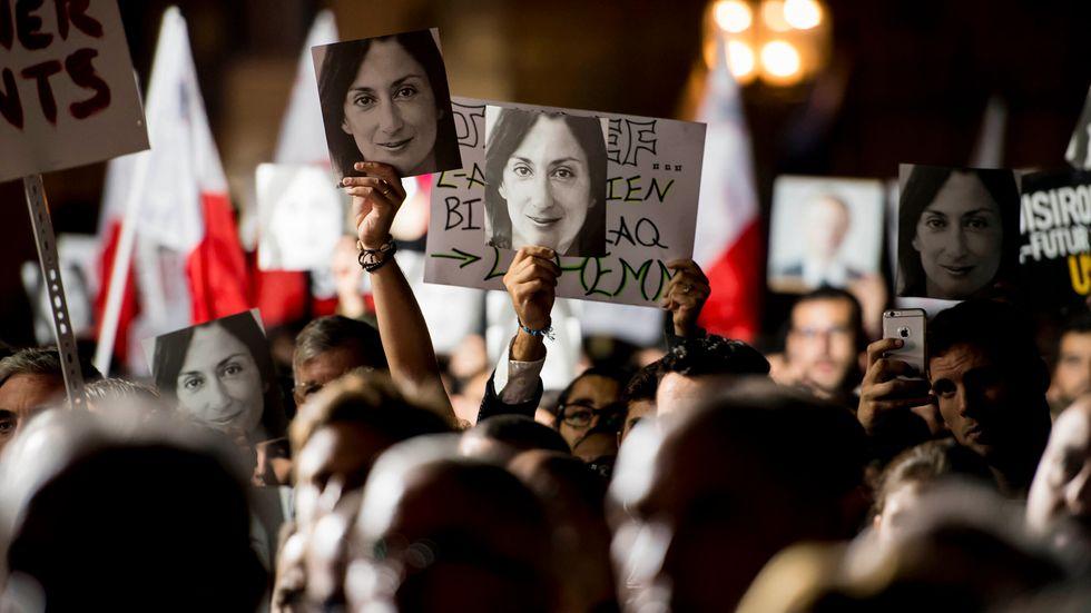 Journalisten Daphne Caruana Galizia dödades av en bilbomb 2017. Arkivbild.