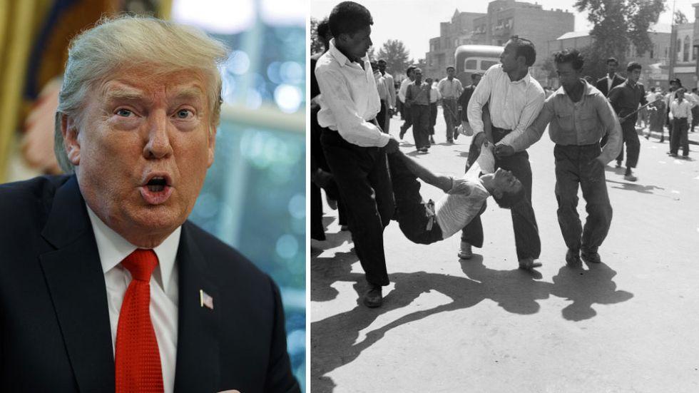 T h: Demonstranter släpar bort en skadad man i samband med kuppen mot Mossadegh i Iran 1953.