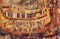 """""""De kristna martyrerna i Nagasaki"""", okänd konstnär,  1600-talsmålning från Japan."""