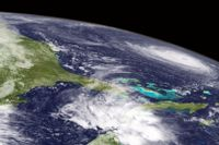 "En satellitbild visar ""Florences"" orkanvirvel i Atlanten."