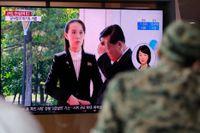 Den högt uppsatta nordkoreanska politikern Kim Yo-Jong, syster till diktatorn Kim Jong-Un, i bild i ett sydkoreanskt tv-inslag.