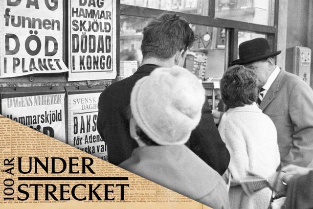 Kö till tidningskiosken, 1961.