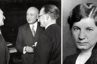 Till vänster: Konrad Adenauer (tv) samtalar med Robert Schuman och Italiens utrikesminister Alcide de Gasperi (th) vid ett möte i Strasbourg 1951. Till höger: Elin Wägner.