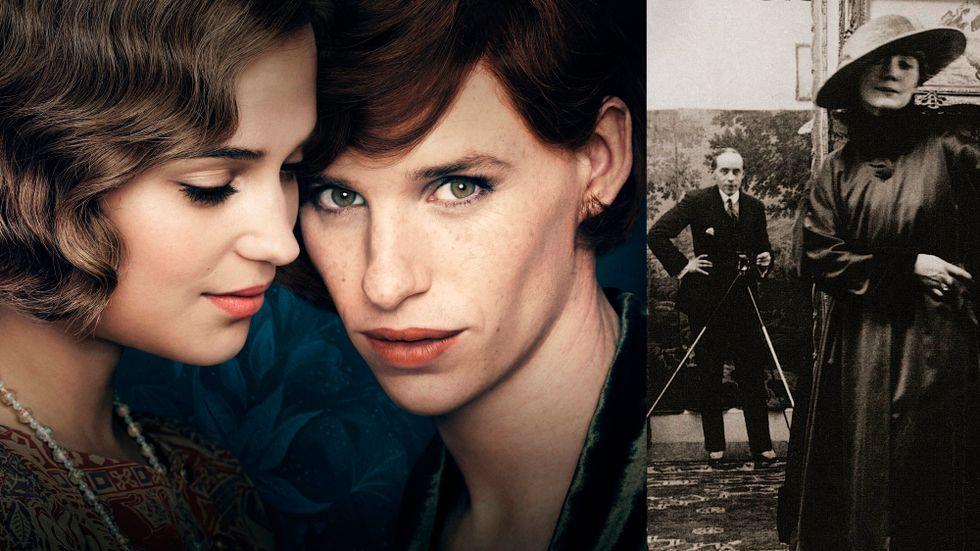 """Gerda Wegener och partnern Lili, till vänster gestaltade i filmen """"The Danish girl"""", till höger en selfie daterad 1917"""