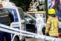 Polisavspärrningar vid Salutorget i Åbo efter terrordådet i augusti förra året.