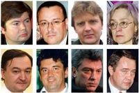 Döda kritiker: Artiom Borovik, Roman Tsepov, Aleksandr Litvinenko, Anna Politkovskaja, Sergej Magnitskij, Aleksandr Perepilitjnij, Boris Nemtsov och Michail Lesin.