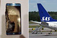 Från och med onsdag är det totalförbjudet att ha med sig en Samsung Galaxy Note 7-telefon ombord på SAS.