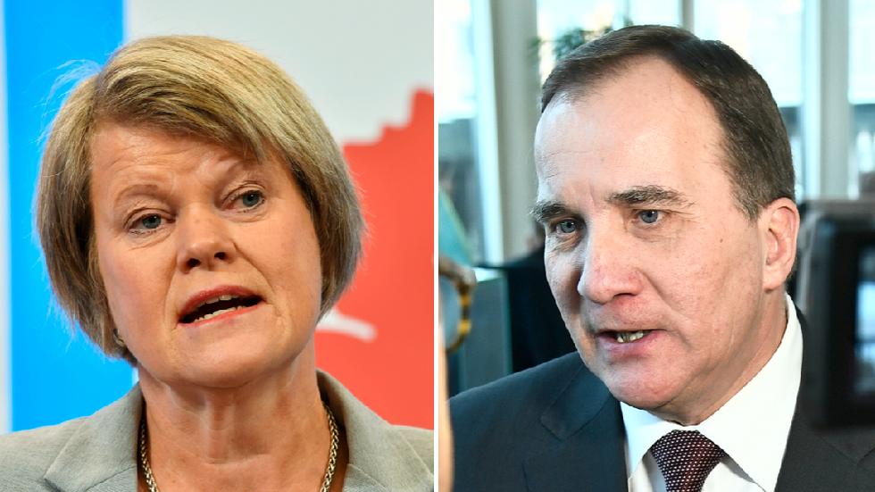 Ulla Andersson, ekonomiskpolitisk talesperson för Vänsterpartiet, och statsminister Stefan Löfven (S).