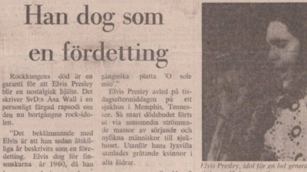Svenska Dagbladets artikel 18 augusti 1977.