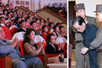Kim Jong-Un, hustrun Ri Sol-Ju och fastern Kim Kyong-Hui. Till höger Kim Kyong-Huis man Jang Song-Thaek som avrättades 2013.
