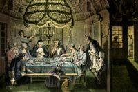 Holländska judar firar sukkot, eller lövhyddohögtiden, under tidigt 1700-tal.