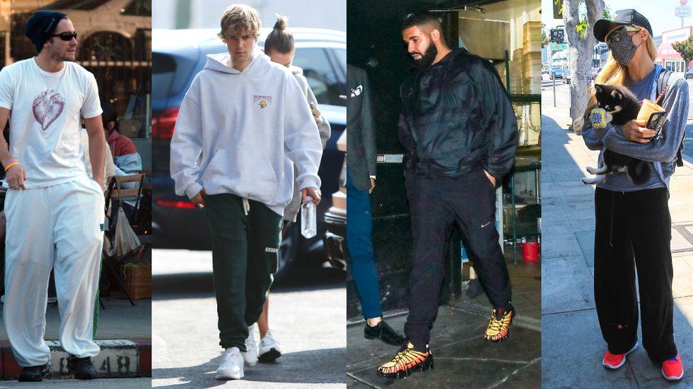 """Jake Gyllenhaal, Justin Bieber, Drake och Paris Hilton har en sak gemensamt: de bär mjukisbyxor – ett plagg som kan associeras med """"kriminalitet, utanförskap och machokultur""""."""