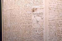 Leonardo Da Vincis anteckningar. Nu ska också ett av hans fingeravtryck visas i en utställning – som dock inte syns här. Arkivbild.
